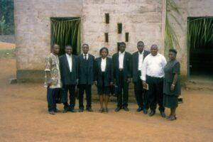 Fantang met medestudenten (3e van rechts)